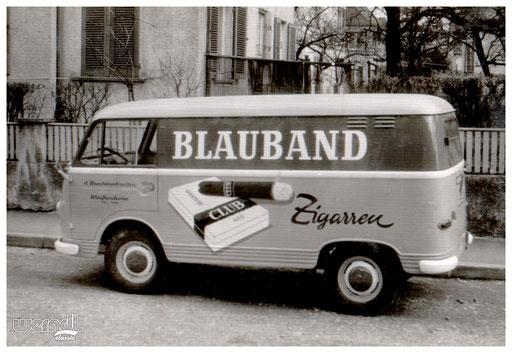 Fahrzeugbeschriftung für die Firma Brechtenbreiter aus Weißenhorn mit Blauband Zigarren Werbung.