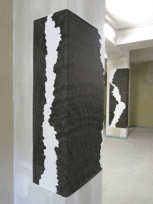"""Randbedingung4"", drawing ink on paper, 2018, left 160 x 136 cm, right 200 x 105 cm"