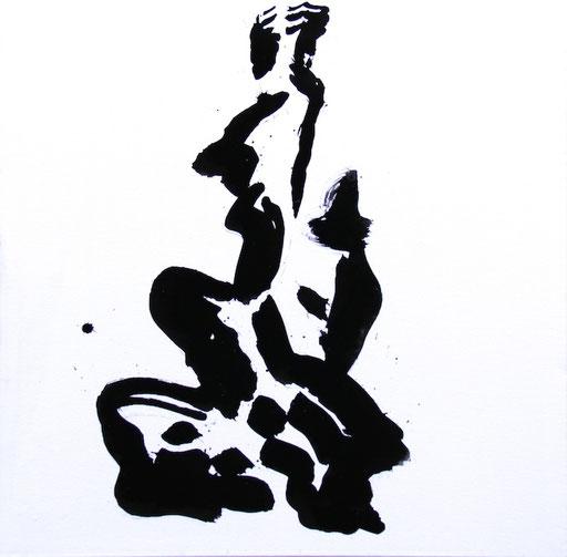 Figur 2016, Tusche auf Leinwand, 70 x 70cm