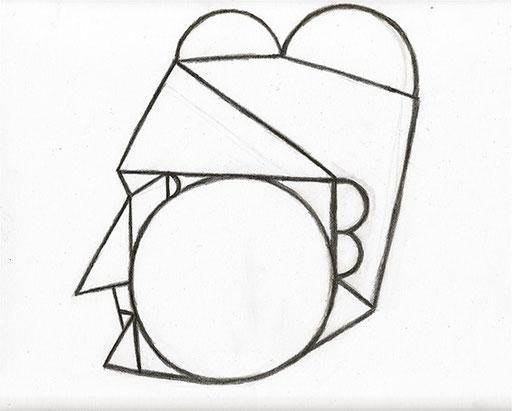 Profile of an Old Lady 老婆の横顔 Pencil 356 mm x 280 mm 2003 Ⓒ Hanae Tanazawa