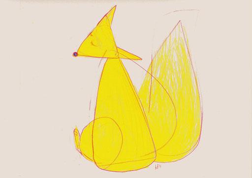 Why am I Born a Fox? あたいどうしてキツネに生まれたんだろ 349 mm x 267 mm color pencils 2011 Ⓒ Hanae Tanazawa