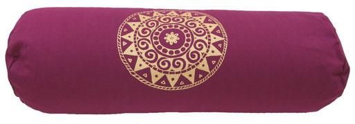"""Designer Yoga Bolster Rolle """"Ur-Mandala Variation"""" aubergine"""