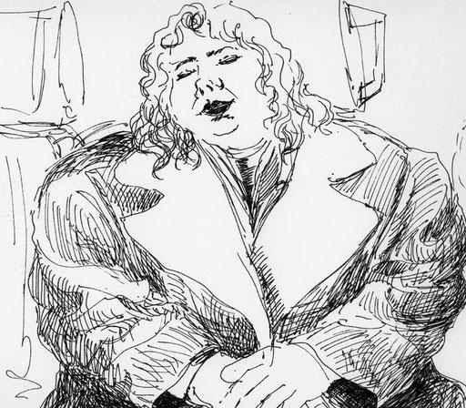 Skizze zu Frau im gelben Mantel