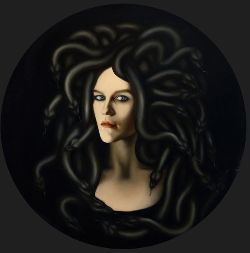Medusa, 2020,  Ø70 cm, oil on canvas