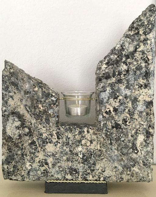 """""""Teelicht in Marmoroptik, Styropor, Dekorationshärter, ca. 35 cm hoch"""