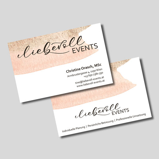 Logoentwicklung, Visitenkarten für Liebevoll Events, Wien