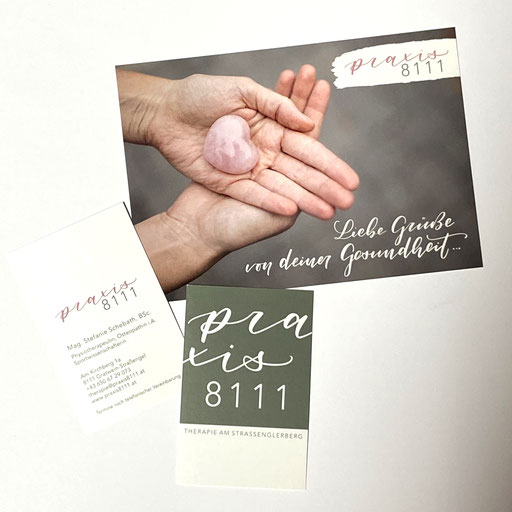 Logoentwicklung, Visitenkarten und Werbepostkarte für Praxis 8111, Gratwein
