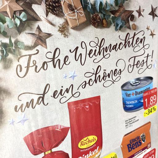 Advents-/Weihnachtsprospektwerbung Spar Österreich, via Werbeagentur Wirz, Wien (handgeletterte Schriftzüge)