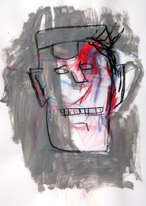 La violence 3, 2018, Ölkreide auf Papier, 42 x 59 cm