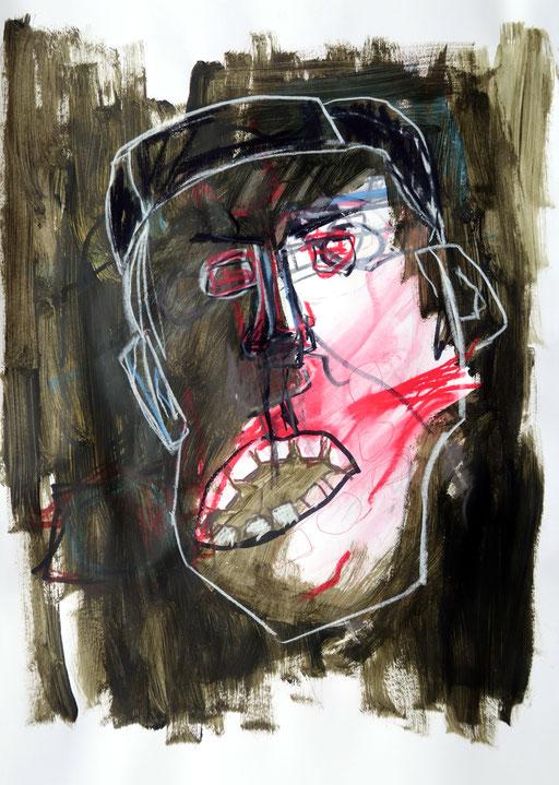 La violence 2, 2018, Ölkreide auf Papier, 42 x 59 cm