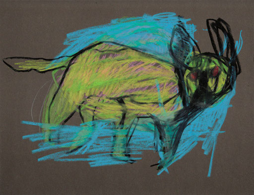 Nachttier I, 2012, Ölkreide auf Papier, 21 x 25 cm