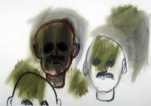 Chimären 6, 2016, Ölkreide auf Papier, 42 x 30 cm
