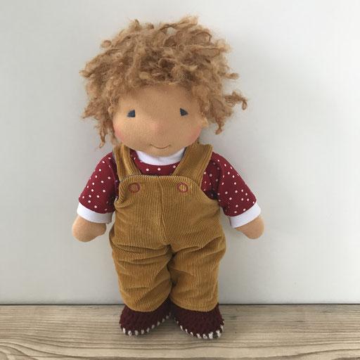 Puppenkleidung zum Wenden -hier Latzhose beidseitig tragbar