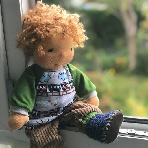 Fenstergucker Puppe strohblond