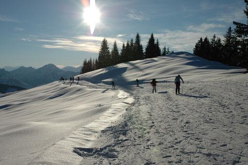 Skiroute vom Skigebiet zur Hütte