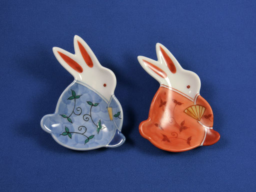 "◆ mamezara set ""Rabbit in Arabesque Kimono"" (SET of 2)"
