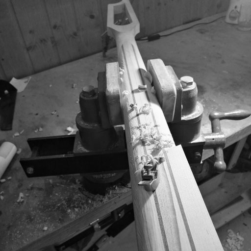 shaping a bass neck with slotted headstock - stay tuned to see this amazing bassguitar finished