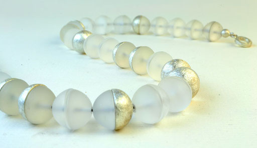 Quartz half-bead necklace, sterling