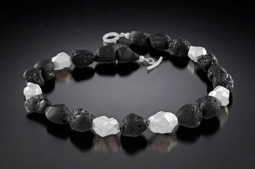 Black tourmaline river rocks, sterling