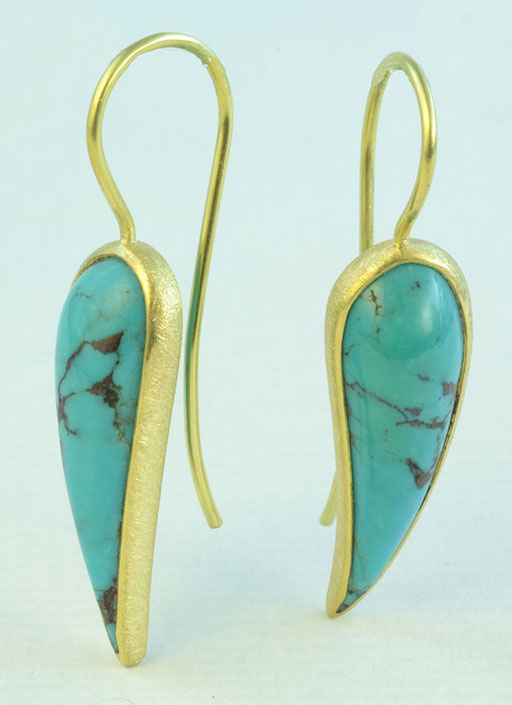 Turquoise curved drops, 18KY