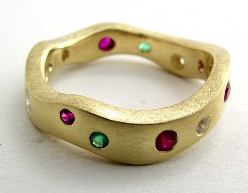Wave ring, diamonds, rubies, emeralds, 18ky