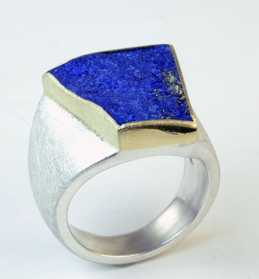 Rough-cut lapis, 18KY, sterling