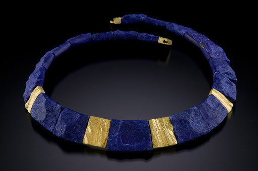 Lapis Cleopatra necklace, 18KY