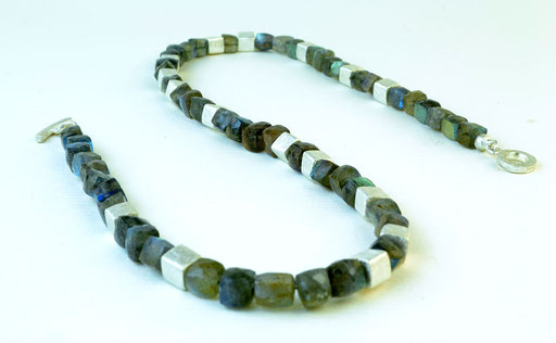 Labrodorite square bead necklace, sterling