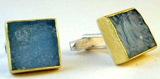 Rough-cut aquamarine cufflinks, 18KY, sterling