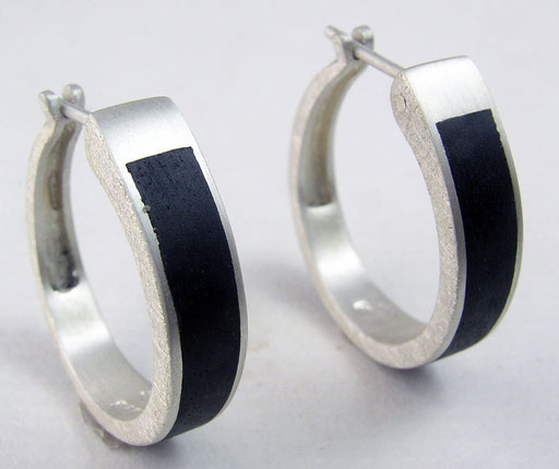 Ebony hoops, sterling silver