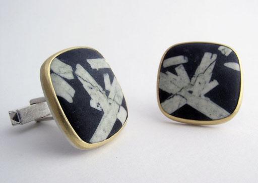 Snowflake obsidian cufflinks, 18KY, sterling