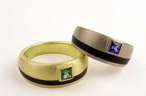 Ebony rings, tourmaline, saphire, 18ky & 18kw