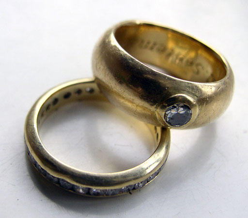 Diamond ring, eternity guard, 18KY