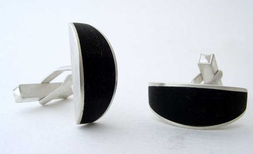 Ebony half-moon cufflinks, sterling