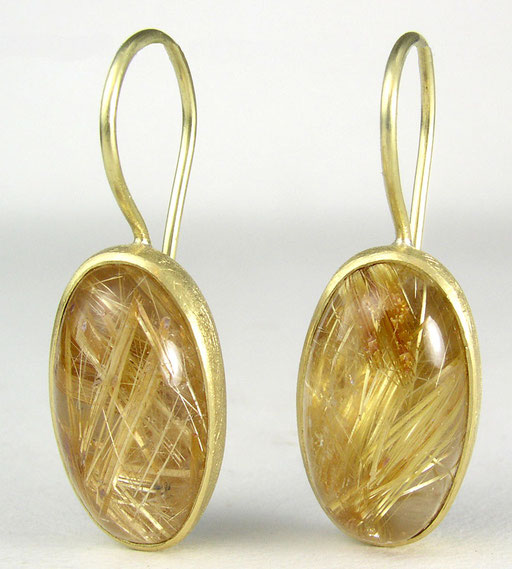 Rutilated quartz, 18KY, sterling