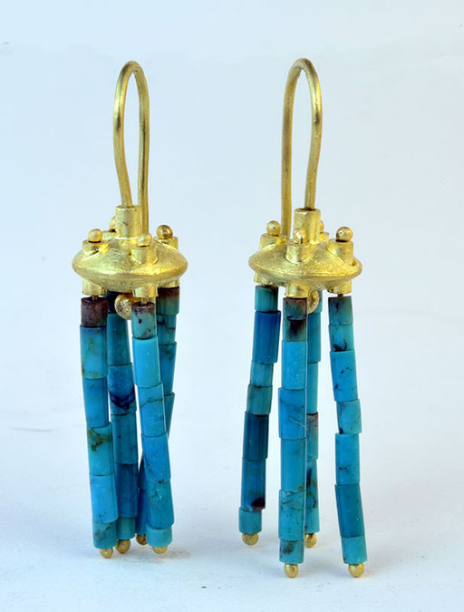 Turquoise spindle earrings, 18KY