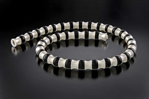 "Onyx ""wirbel"" necklace, sterling"