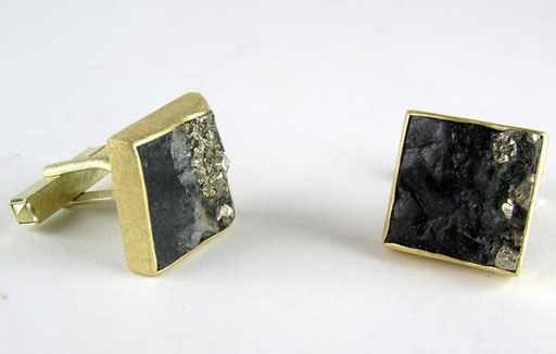Rough-cut slate pyrite cufflinks, 18ky, sterling
