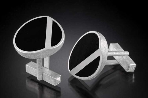 Ebony bent-circle cufflinks, sterling