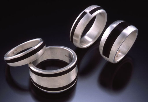 Ebony bands, silver