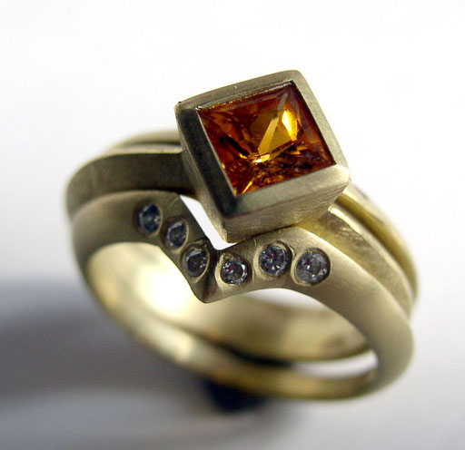 Yellow sapphire, diamond guard rings