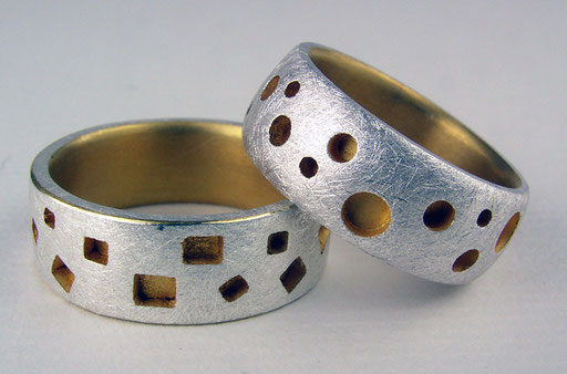 Circles and squares bands, 24KY, sterling