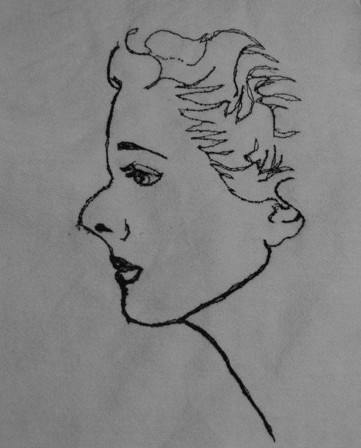 """""""Portrait Dame"""", genähmalt"""