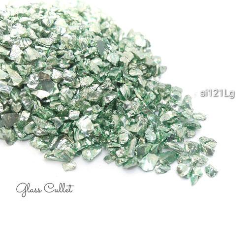 15グラム☆約1.5mm~2mm前後-穴なしガラスカレット☆ライトグリーン【si121Lg】