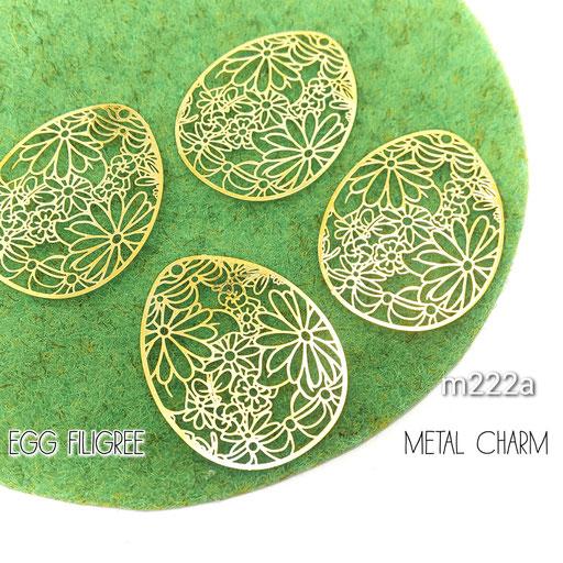4個 薄*銅製 卵型 繊細な透かしメタルチャーム Aタイプ【m222a】