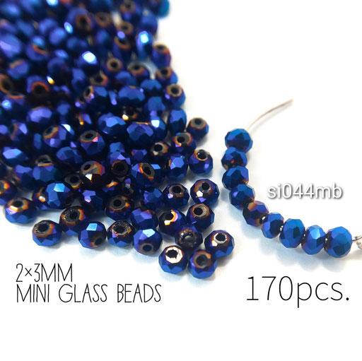 約170個 約2×3mm 極小*多面電気メッキガラスビーズ マリンブルー色【si044mb】