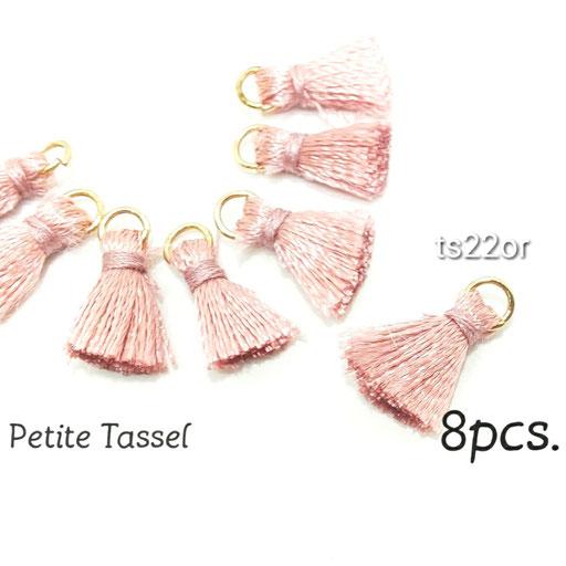 特価 8個 シンプル 刺繍糸ミニタッセル オールドローズ【ts22or】