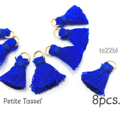 特価 8個 シンプル 刺繍糸ミニタッセル ブルー【ts22bl】