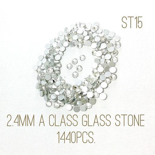 大量約1440粒!2.4mmA級品ガラスラインストーン!☆クリスタル色☆【st15】