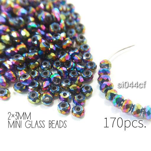 約170個 約2×3mm 極小*多面電気メッキガラスビーズ カラフル色【si044cf】